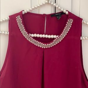 Forever 21 Maroon Embellished Tank Top Small